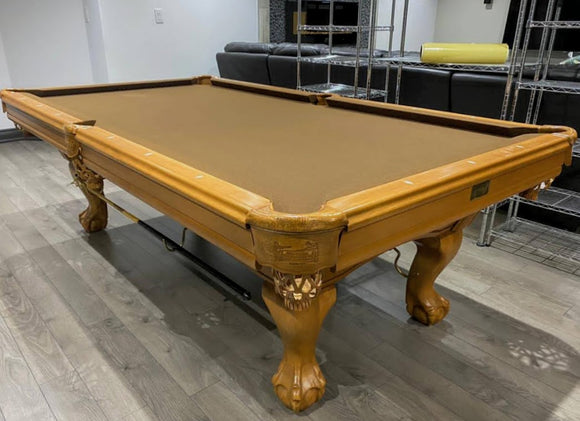 8' PREOWNED CANADA BILLIARD DYNASTY SLATE POOL TABLE INSTALLED WITH ACCESSORIES