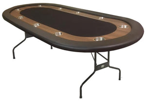 BLACK FELT TOP FOLDING POKER TABLE 7'