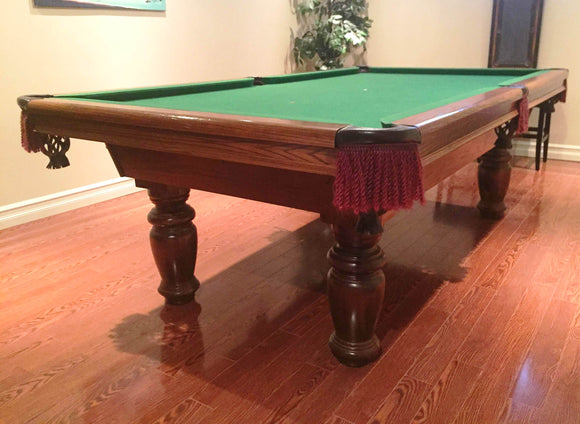 8' PREOWNED DUFFERIN POOL/SNOOKER TABLE INSTALLED WITH ACCESSORIES