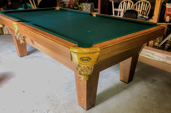 PREOWNED 8' OLHAUSEN AUGUSTA SLATE POOL TABLE INSTALLED WITH ACCESSORIES