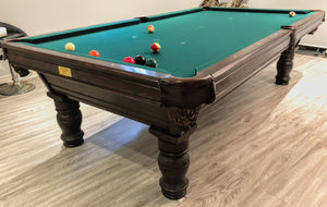 PREOWNED 9' CENTER SPOT POOL TABLE INSTALLED WIITH ACCESSORIES
