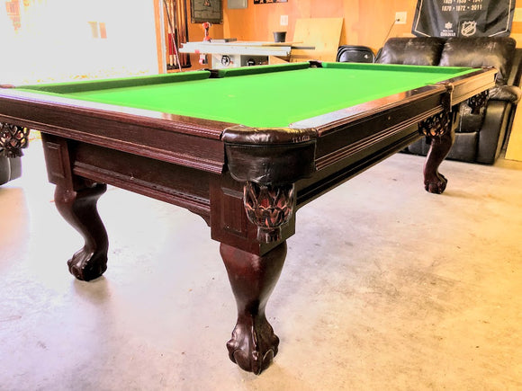 8' PREOWNED DUFFERIN SLATE POOL TABLE INSTALLED WITH ACCESSORIES