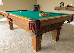 PREOWNED 8' OLHAUSEN AUGUSTA SLATE POOLSNOOKER TABLE INSTALLED WITH ACCESSORIES