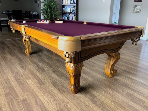 8' PREOWNED MAJESTIC POOL TABLE INSTALLED WITH ACCESSORIES