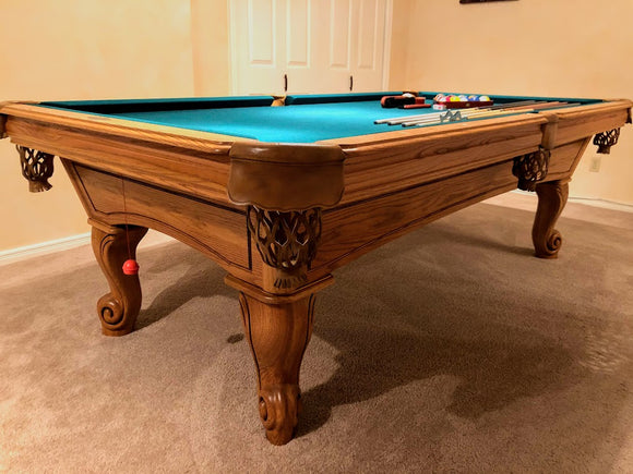 PREOWNED 8' PLAY MASTER POOL TABLE INSTALLED WITH ACCESSORIES