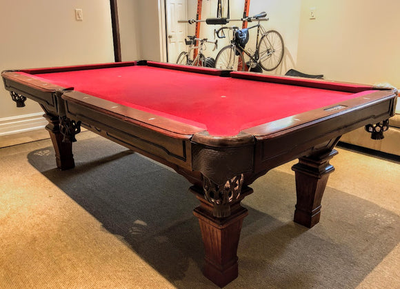 8' PREOWNED  PRESIDENTIAL BILLIARD SLATE POOL TABLE INSTALLED WITH ACCESSORIES
