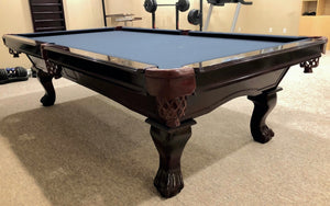 PREOWNED 9' SOLID WOOD SLATE POOL TABLE INSTALLED WITH ACCESSORIES