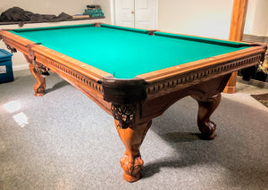 8' PREOWNED PARAGON POOL TABLE INSTALLED WITH ACCESSORIES