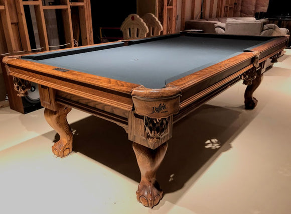 8' PREOWNED DUFFERIN SLATE POOL TABLE INSTALLED WITH ACCESSORIES NATURAL OAK FINISH