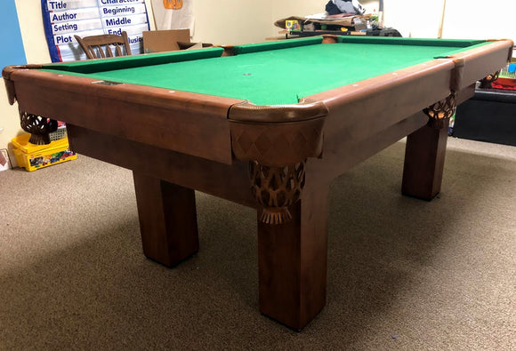 7' PREOWNED CANADA BILLIARD INVITATION POOL TABLE INSTALLED WITH ACCESSORIES