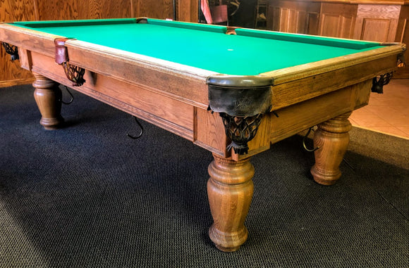 8' PREOWNED CUSTOM MADE SLATE POOL TABLE INSTALLED WITH ACCESSORIES