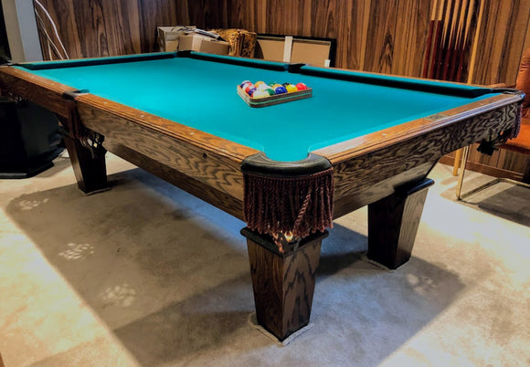 PREOWNED 8' WORLD OF LEASURE SLATE POOL TABLE INSTALLED WITH ACCESSORIES
