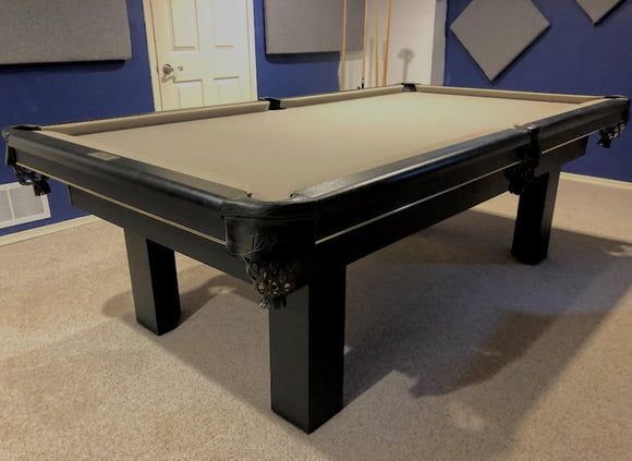 PREOWNED 8' DUFFERIN REGAL BLACK SLATE POOL/SNOOKER TABLE INSTALLED WITH ACCESSORIES
