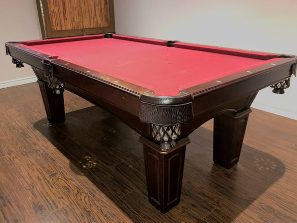 7' PREOWNED  OLHAUSEN POOL TABLE INSTALLED WITH ACCESSORIES