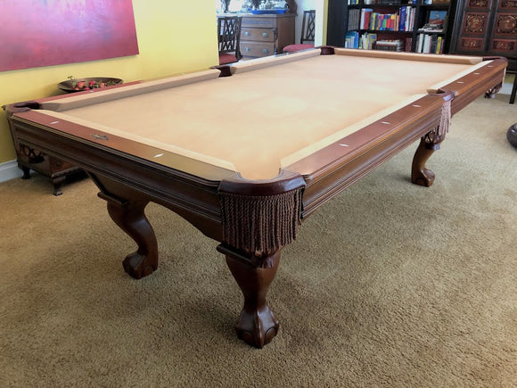 8' PREOWNED BRUNSWICK BRADFORD II POOL TABLE INSTALLED WITH ACCESSORIES WALNUT FINISH
