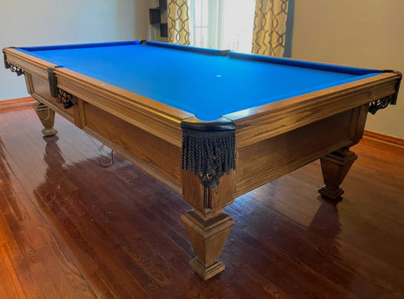 9' PREOWNED OLHAUSEN  POOL/SNOOKER TABLE INSTALLED WITH ACCESSORIES