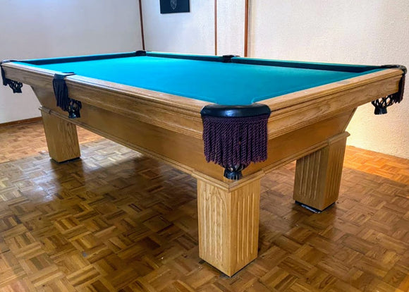 PREOWNED 8' OLHAUSEN  POOL TABLE INSTALLED WITH ACCESSORIES