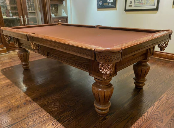 8' PREOWNED DUFFERIN ELITE POOL TABLE INSTALLED WITH ACCESSORIES