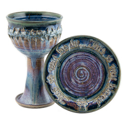 Holbrook Stoneware - Stoneware (Ceramic) Scripture and Crown of Thorns Porcelain Chalice and Paten Set, Pastel Blue