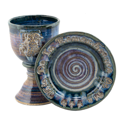 Scripture and Grapes Chalice and Paten Set