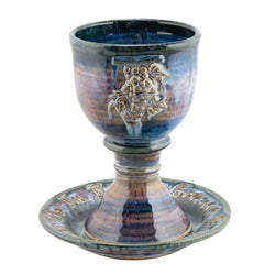 Holbrook Stoneware - Scripture and Grapes Stoneware (Ceramic) Chalice and Paten Set, Pastel Blue