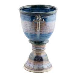 Holbrook Stoneware - Old Rugged Cross Stoneware (Ceramic) Chalice, Pastel Blue