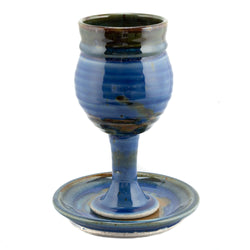 Barrel Sides Chalice and Paten Set - Stoneware (Ceramic), Blue