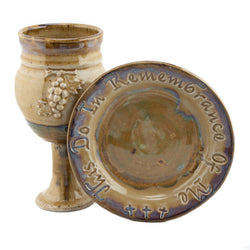 Holbrook Stoneware - Barrel Sides Grape and Scripture Chalice and Paten Set - Tan