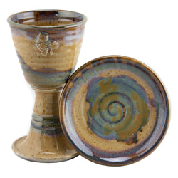 Holbrook Stoneware - Straight Sides Stoneware (Ceramic) Grape Chalice and Paten Set, Tan
