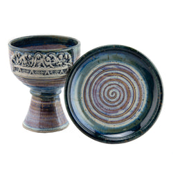Holbrook Stoneware - Stoneware (Ceramic) Last Supper Chalice and Paten Set, Pastel Blue