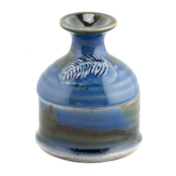 Hand-Thrown Ceramic Ash Wednesday Leaf Embossed Pyxis Jar, Blue
