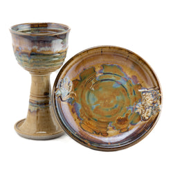Holbrook Stoneware - Wheat and Grape Chalice and Paten Set, Tan