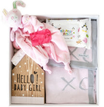 Load image into Gallery viewer, This is our most desired gift set. It is luxurious and memorable making it an ideal gift for any new parent. Set includes: Personalised Keepsake Gift Box. Pink Bloom Bamboo Knit blanket. Pink Bunny Security Blanket. Hello Baby Girl LED Light Box. Pink Bloom Bamboo Face Washers x 2.