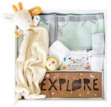 Load image into Gallery viewer, Don't want to go for the traditional pink and blue baby gifts then look no further than this luxurous collection which highlights mint green. The bamboo blanket feels like silk to touch and will not disappoint. Wrapped in a personalised baby gift box with the babies name.  .