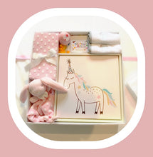 Load image into Gallery viewer, The ideal newborn baby girl gift set can be yours to welcome a baby girl into the world. It has everything a baby girl needs including a super soft pink polka dotted blanket, Lou Lou the cuddle blanket, framed unicorn artwork perfect for every nursery or play room, 2 x petit elephant wash clothes, 3 x ducks for bath time and not forgetting mummy, a bath bomb.