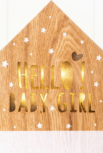 Hello Baby Girl LED Light Box: Battery operated the Hello Baby Girl LED Light box makes a terrific accessory and is an ideal night light.