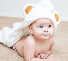 Load image into Gallery viewer, Baby Bear Hooded Bath Towel: This gorgeous Baby Bear Hooded Bath Towel is made of Organic Bamboo making it extra soft and highly absorbent. This fluffy bath towel for babies with adorable bear ears in an off-white unisex colour, is of a large size making it ideal for newborns up to toddlers.