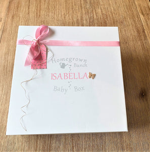 Matt finish and 100% recyclable. All of our Baby Boxes are designed with the environment in mind.  This pretty baby girl gift box is the ideal present for any newborn baby.