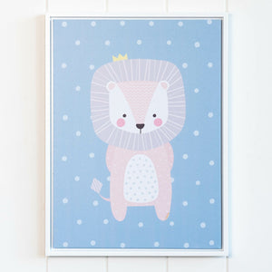 Framed Artwork  Jnr. - Crown Lion: Fill a nursery or play space with artwork that will grow with them such as this adorable, Canvas Print. Finished with a white, floating frame, this playful print features a friendly baby lion that will watch over any little one.