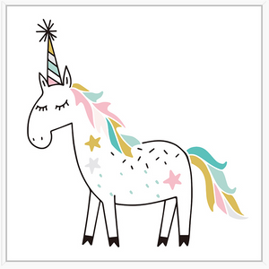 Thin Floating Frame - Jnr. - Unicorn Party: Fill a nursery or play space with artwork that will grow with them such as this adorable canvas print. Finished with a white, floating frame, this playful print features a friendly party Unicorn that will watch over any little one.