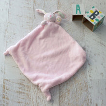Load image into Gallery viewer, Pink Bunny Security Blanket: Beautiful velour blanket body and satin lining to soothe and comfort, little ones love these cute and cuddly security blankets with knotted corners for easy grip.