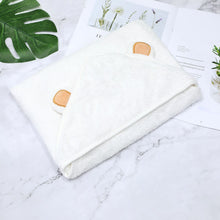 Load image into Gallery viewer, Baby Bear Hooded Bath Towel: This gorgeous Baby Bear Hooded Bath Towel is made of Organic Bamboo making it extra soft and highly absorbent.