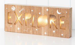 Space Explore LED Light Box Battery operated the Space Explorer LED Light box makes a terrific accessory and is an ideal night light. Versatile and functional it can either be hung on a wall or can stand alone.