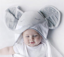 Load image into Gallery viewer, Elephant Novelty Hooded Bath Towel: This gorgeous novelty hooded Bath Towel features a cute Elephant character hood, is made from a plush fabric which is luxuriously soft as well as highly absorbent keeping the baby warm and cozy after their bath.