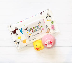 Essential for every new mum is these messy kids wipes as well as a duck for the bath and a bath bomb for the new mum.