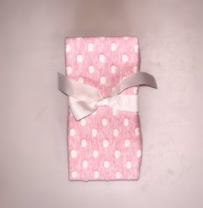Pink polka dotted blanket which is perfect for every little baby girl.