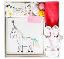 Load image into Gallery viewer, This is the perfect newborn baby girl set with beautiful pink tones throughout. Right from when you see the little girls name handcrafted in soft pinks on the box lid to the super cute Unicorn framed picture. A must for every new parent.