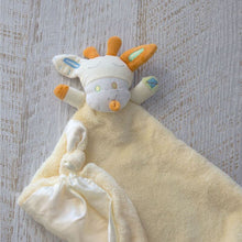 Load image into Gallery viewer, Lemon Giraffe Security Blanket: Beautiful velour blanket body and satin lining to soothe and comfort, little ones love these cute and cuddly security blankets with knotted corners for easy grip.