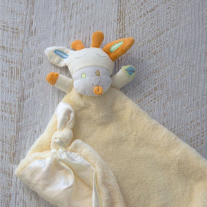 Lemon Giraffe Security Blanket: Beautiful velour blanket body and satin lining to soothe and comfort, little ones love these cute and cuddly security blankets with knotted corners for easy grip.