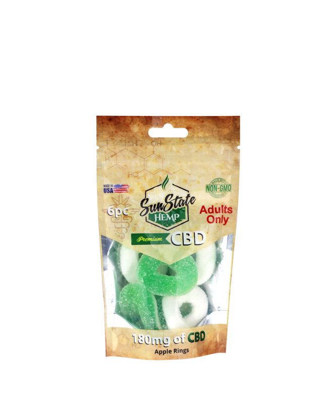 Sun State Hemp Gummy Apple Rings 180 MG